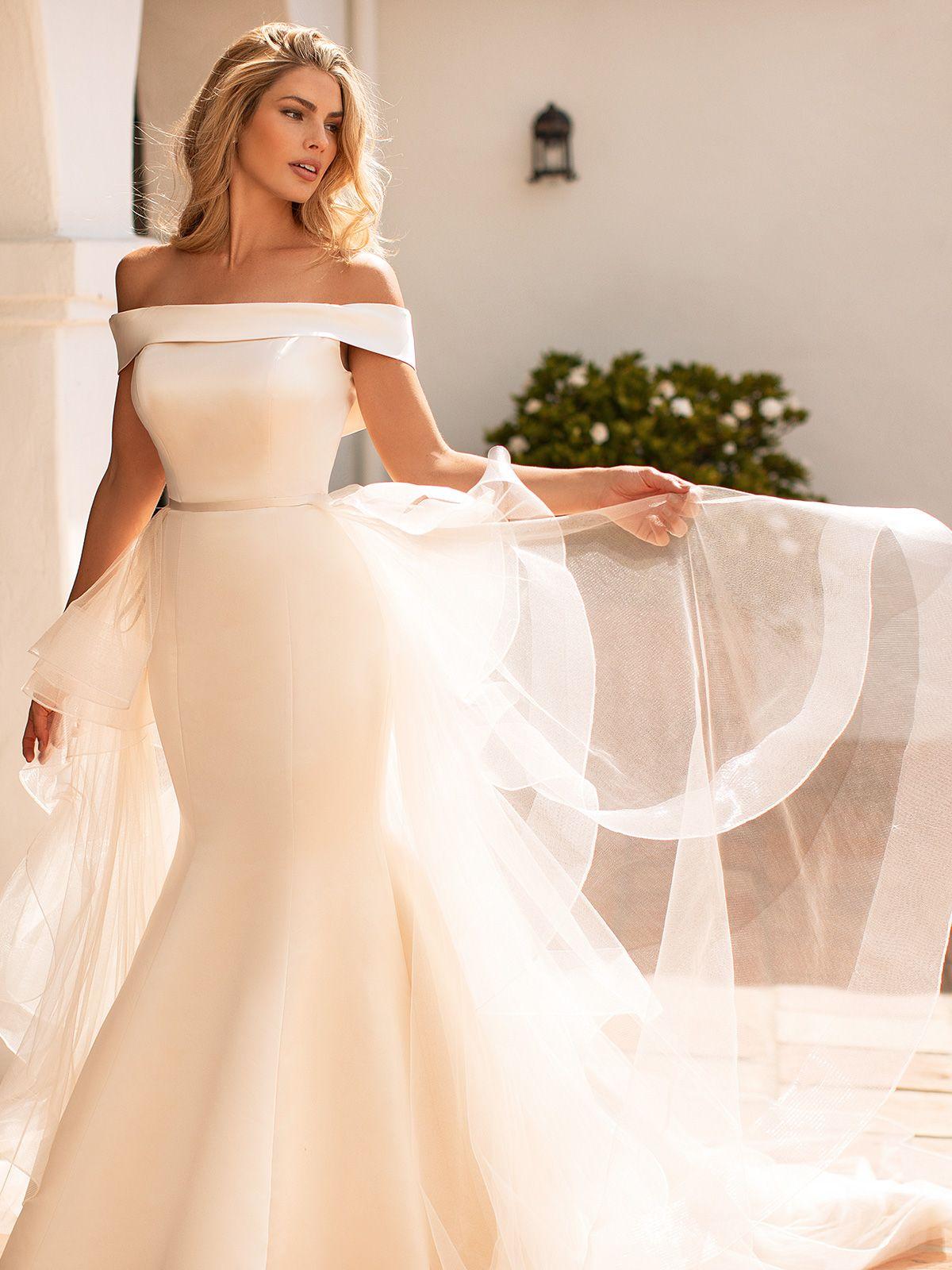 Convertible Satin Fold Over Mermaid Wedding Dress Moonlight Collection J6771 Wedding Dress Long Sleeve Elegant Wedding Dress Satin Mermaid Wedding Dress [ 1600 x 1200 Pixel ]