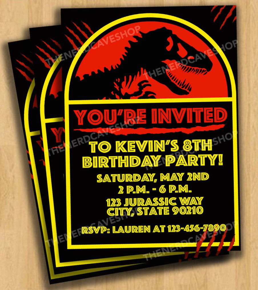 Jurassic World Dinosaur Birthday Party Invitations