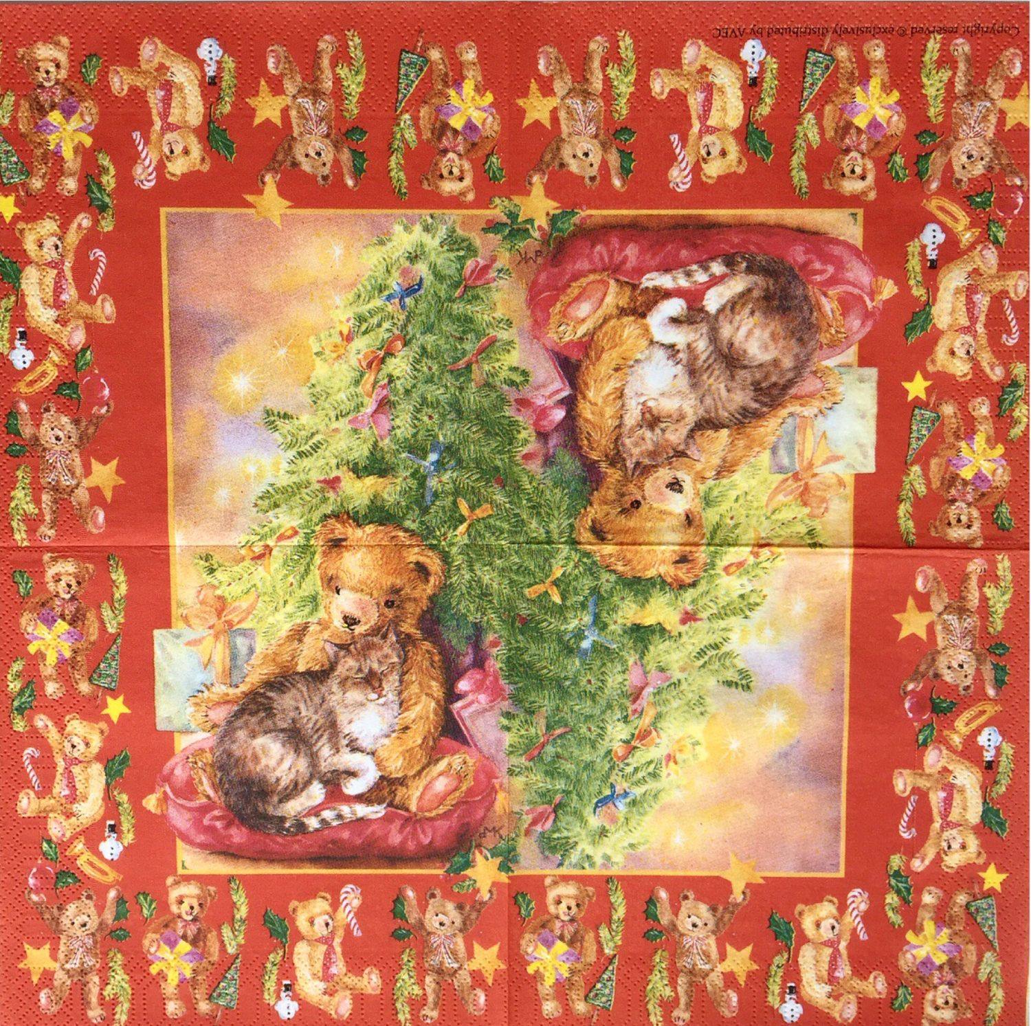 Rare Single(one) Avec napkin Christmas Bear  for collectors/decoupage,mixed media,scrapbooking and other art and crafts door Dalilasdecoupage op Etsy