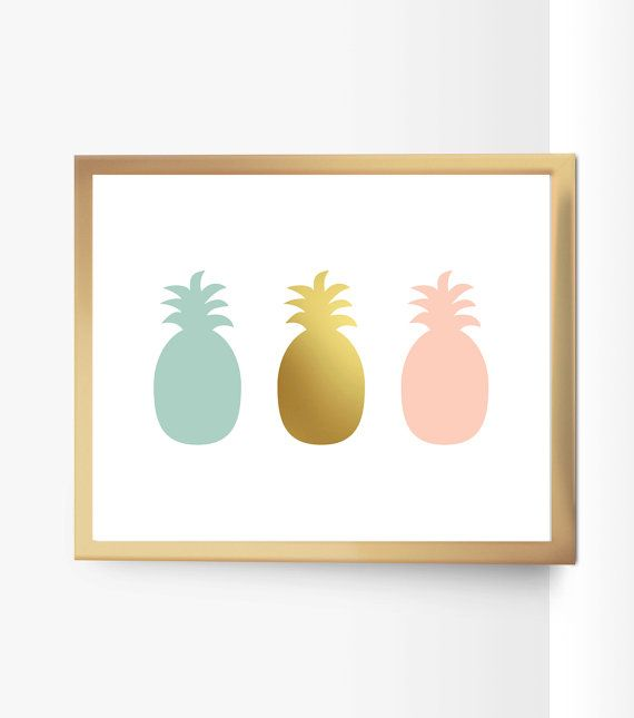 ♥ Printable home decor - Gold Pink Mint Pineapples - Brighten your home or nursery with this pretty print! ♥ Size: 8x10 ♥ What to do: *