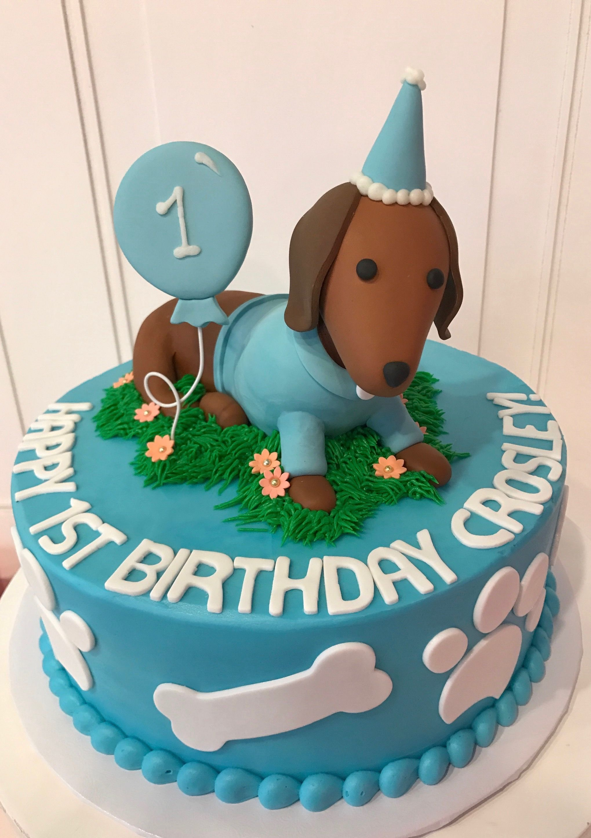 Cool Dachshund Birthday Cake With Balloon In Blue And White By 3 Sweet Funny Birthday Cards Online Unhofree Goldxyz