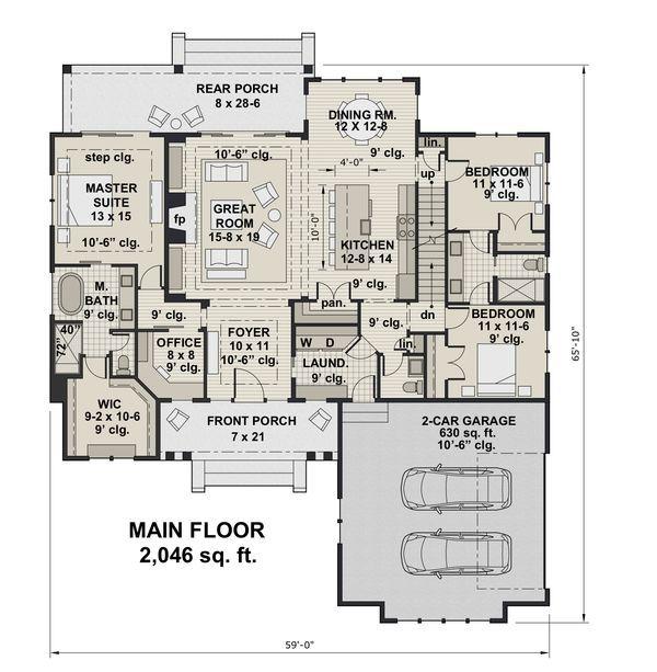 Farmhouse Style House Plan - 3 Beds 2.5 Baths 2046 Sq/Ft Plan #51-1151 - Houseplans.com