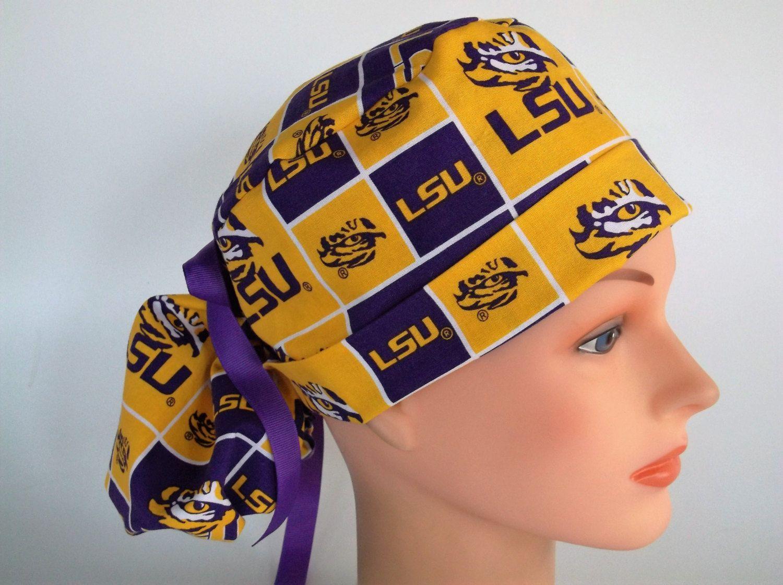 Surgical Scrub Hat Cap Made w Clemson University Tigers Fabric Nurse Skull Chemo
