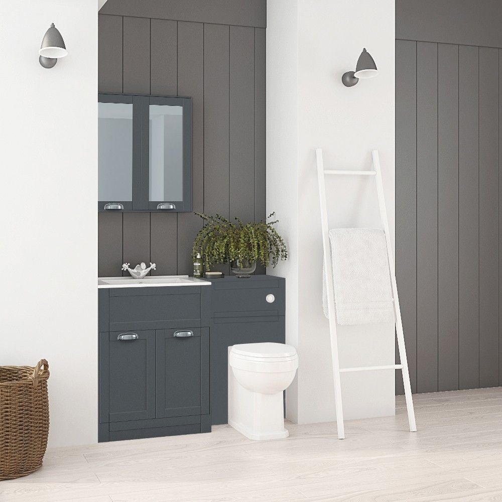 Nottingham 600 Grey Combination Unit With Park Royal Back To Wall Toilet