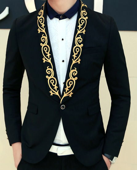 21671cf1b Floral on the lapel always wins! Golden embroidered floral lapel ...