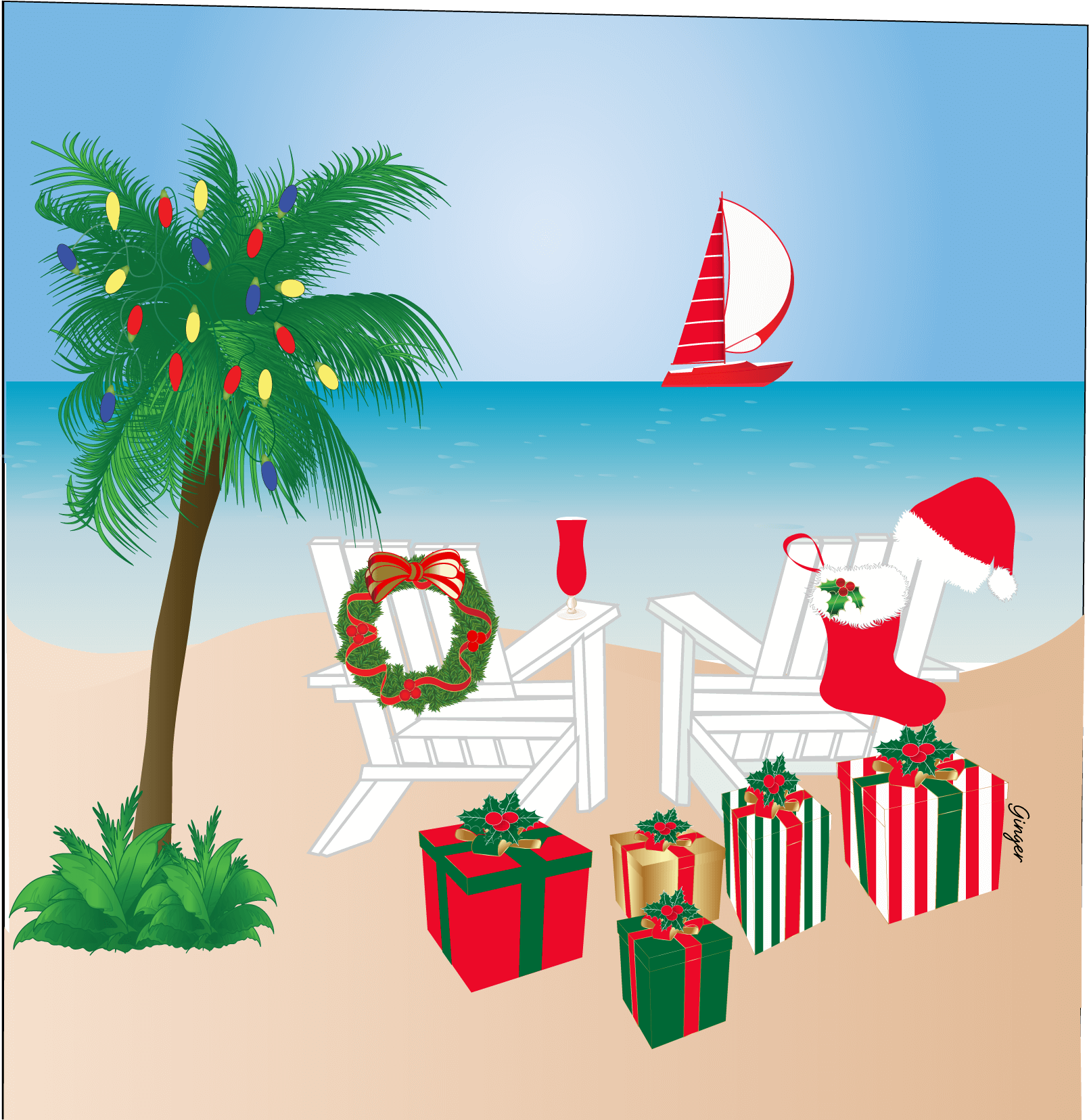 Christmas at the beach palm tree wreath Santa hat CHRISTMAS CARD ...