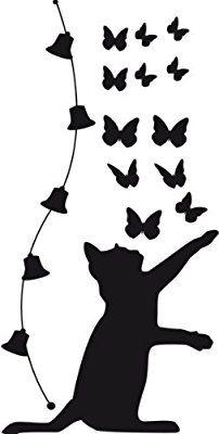 Sticker adh sif mural autocollant chat clochettes noir deco chambre enfant dessin chat - Pochoir mural chambre ...