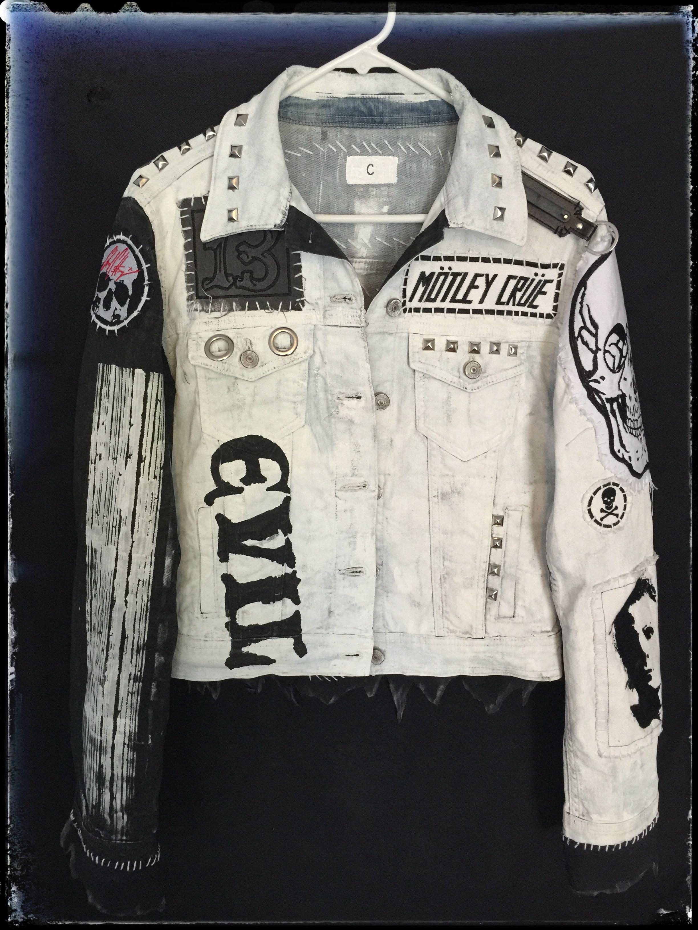 White Denim Rocker Jackets From Chad Cherry Clothing Leather Jacket Style Denim Jacket Grunge Battle Jacket [ 3264 x 2448 Pixel ]