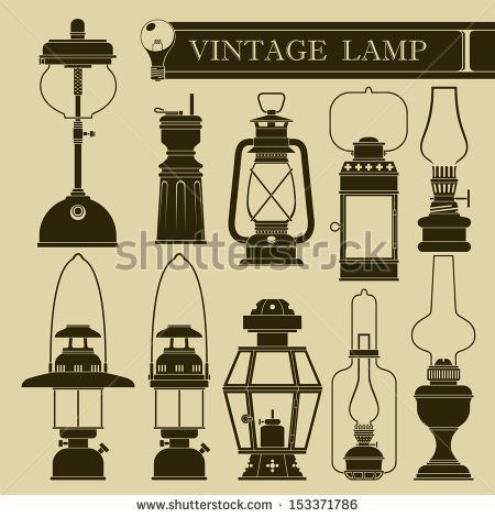 Vintage Lamp Ii Stock Vector 153371777 Shutterstock Vintage Lamps Lantern Tattoo Antique Lanterns