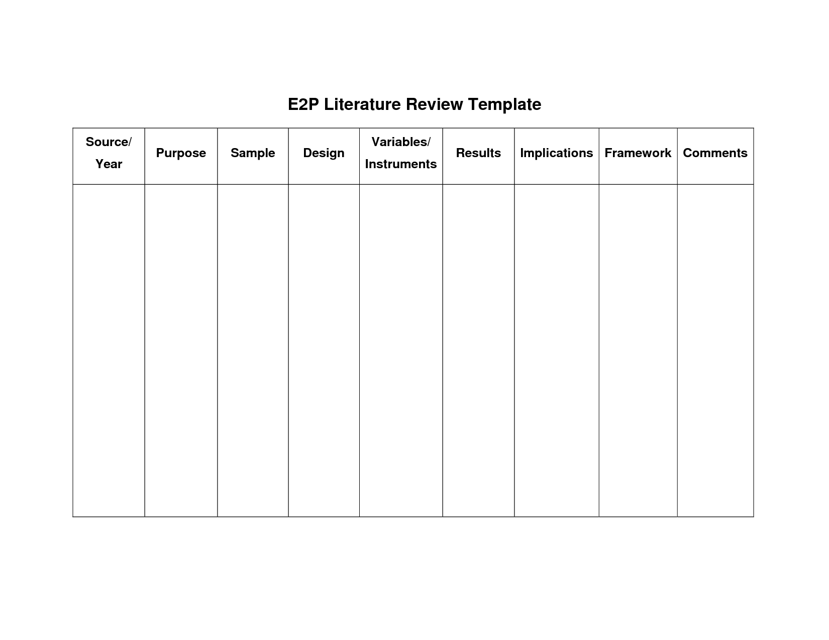 Literature Review Matrix Template  Google Search  College