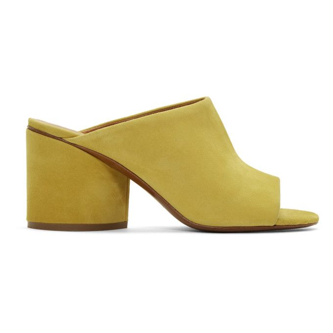 Clergerie Yellow Suede Caren Mules