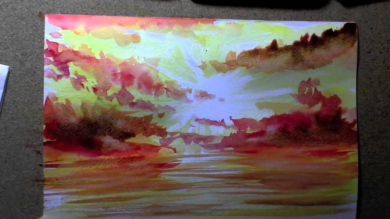 Comment Faire Un Coucher De Soleil En Aquarelle True Painting