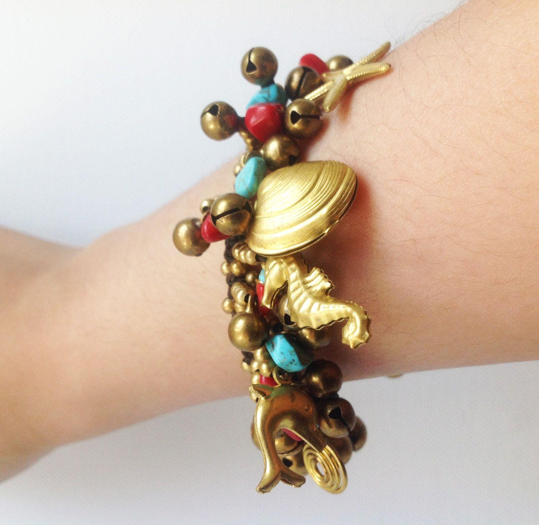thai boho macrame bracelet 10 dangling seashell horse fish