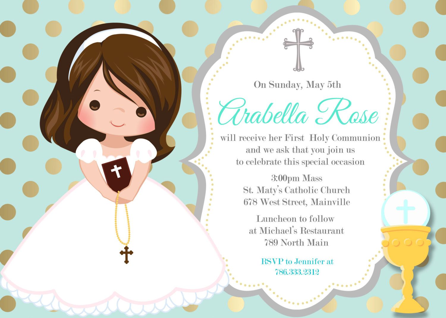 First Communion Invitation Girl Mint Gold Any Hair Color
