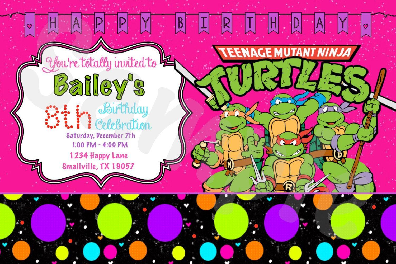 Girl Teenage Mutant Ninja Turtle Birthday Invitation by Denleys ...