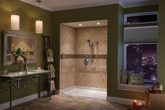 master bath zero entry tiled shower | delta s zero threshold shower base manufactured by aqua glass: