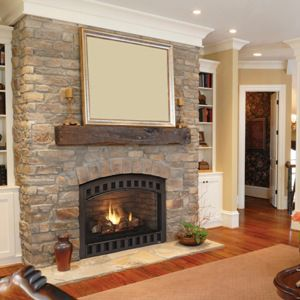 Stone fireplace with solid mantle | The Rawlings Reno | Pinterest ...