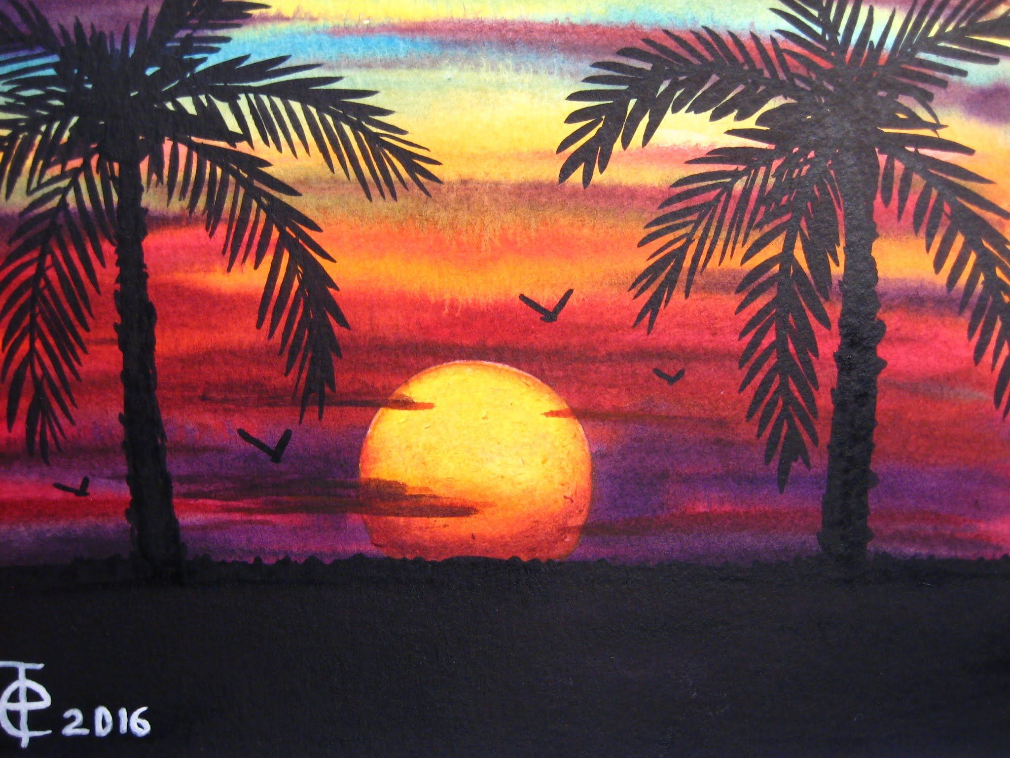 Watercolor Painting Sunset With Palm Trees Speed Painting