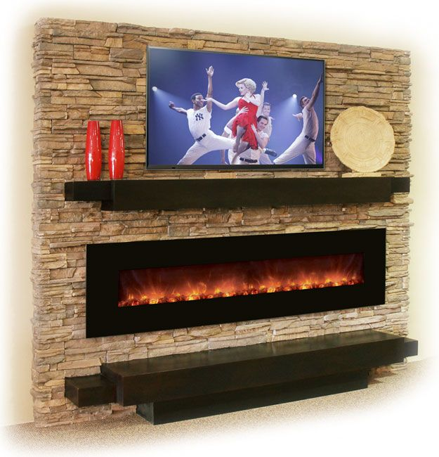 Fireplace with TV. REALLY LOVE LONG GAS FIREPLACE AND MANTAL WITH ...