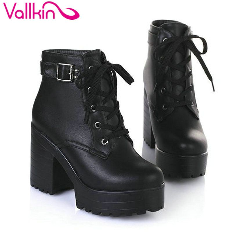 VALLKIN New 2016 Women Ankle Boots Round Toe Platform Buckle Square High Boots For Women Fashion Winter Punk Shoes Size 34-43
