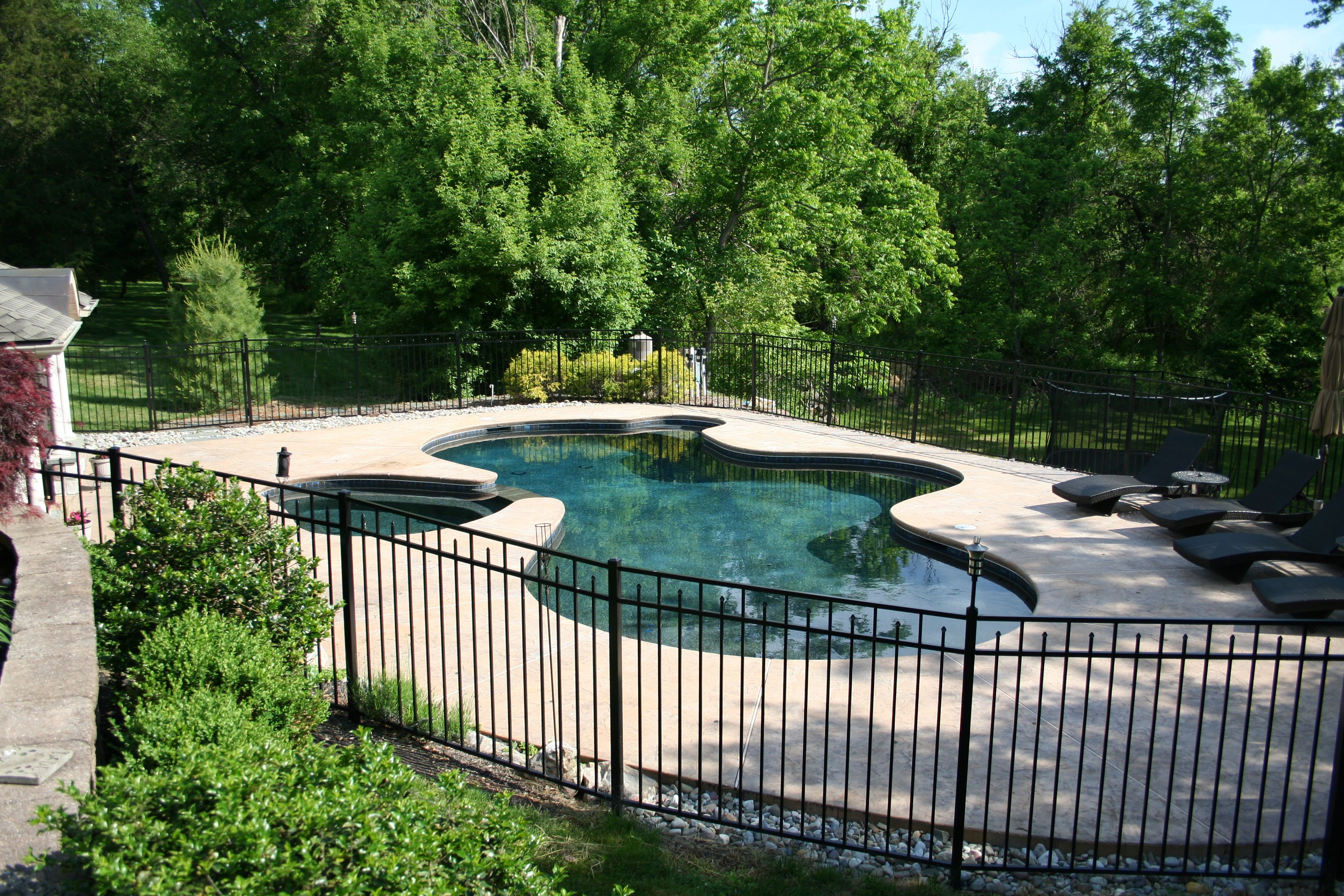 Free Form in ground gunite/plaster pool and spa combo ...