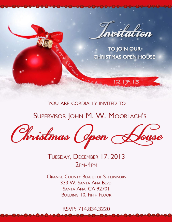 Awesome Open House Christmas Party Ideas Part - 9: MOORLACH UPDATE U2014 Annual Christmas Open House Invitation | John .