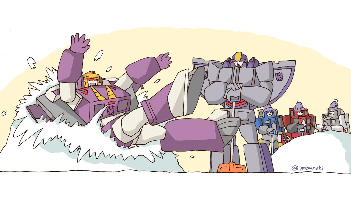 Blitzwing ruins Astrotrain's cleaning the snow.