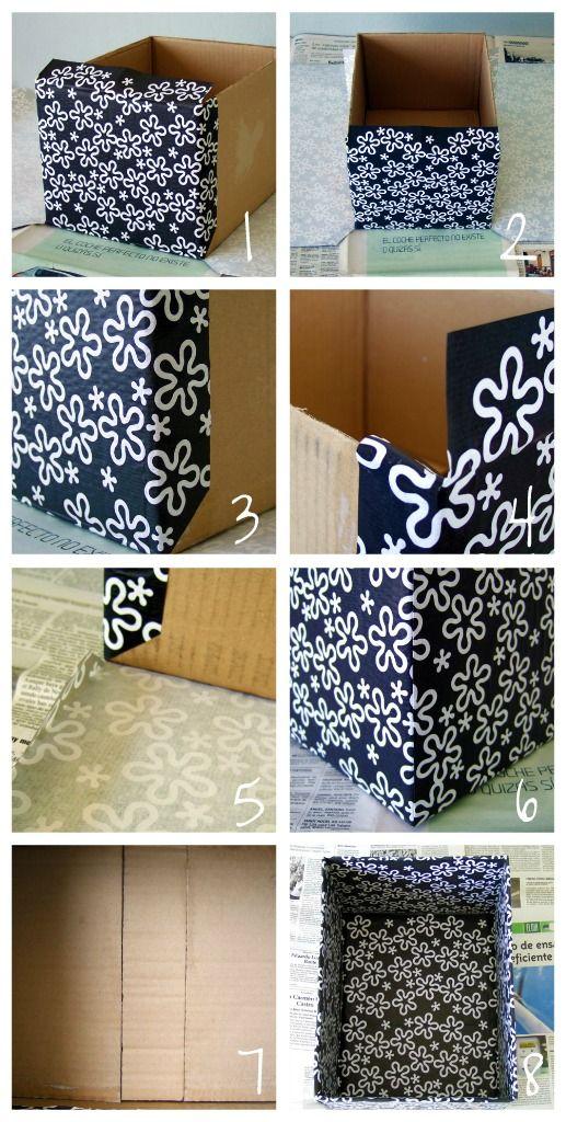 C mo forrar con papel una caja de cart n manualidades - Como forrar una caja con tela ...