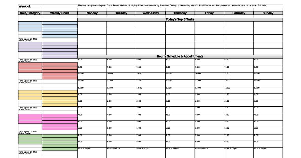 7 Habits Weekly Planner Covey Weekly Planner Stephen Covey Planner Weekly Planner