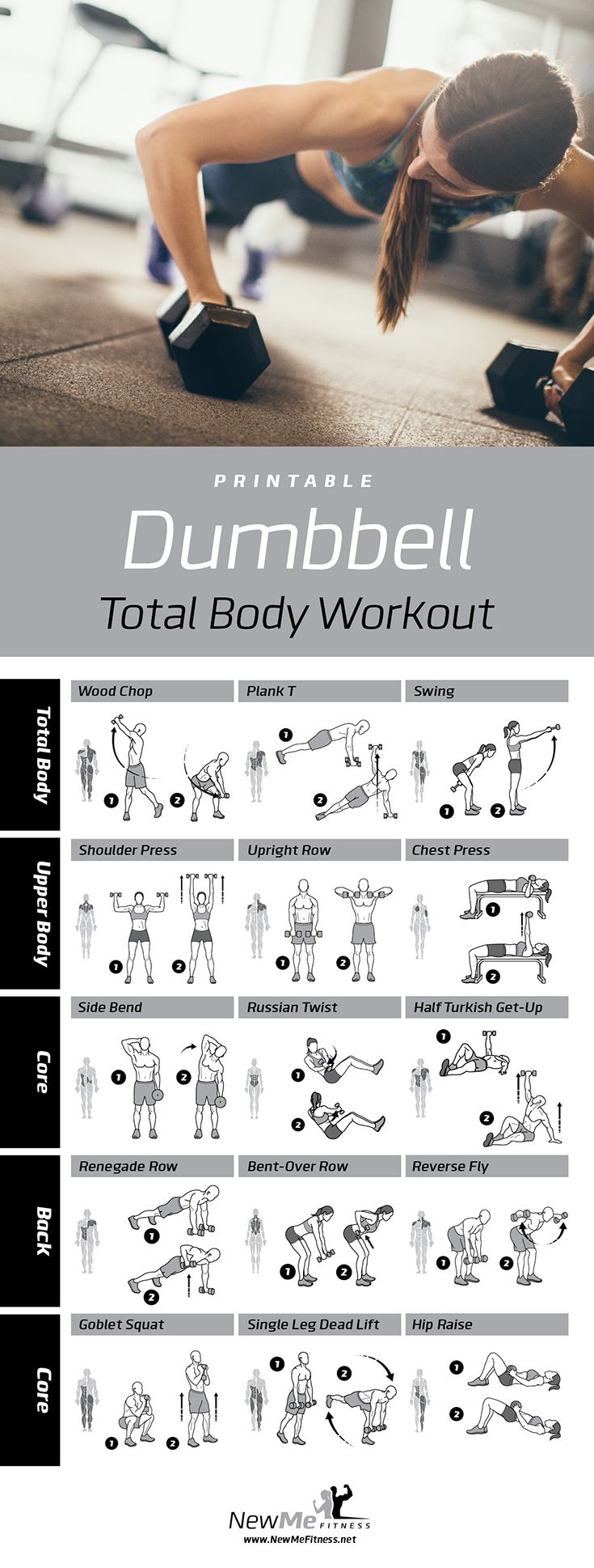 Get Tone and look great naked! Be stronger and feel better with this all-around dumbbell workout! #dumbbellworkout