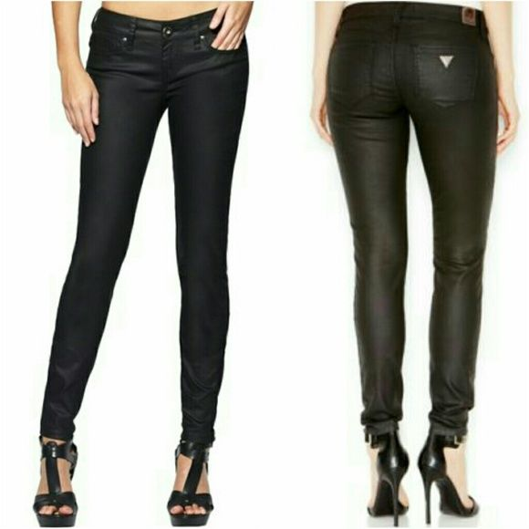 Guess by Marciano Black Coated Skinny Jeans
