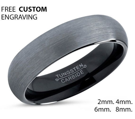 Favori Tungsten Ring Mens Brushed Silver Black Wedding Band Tungsten Ring  OB64