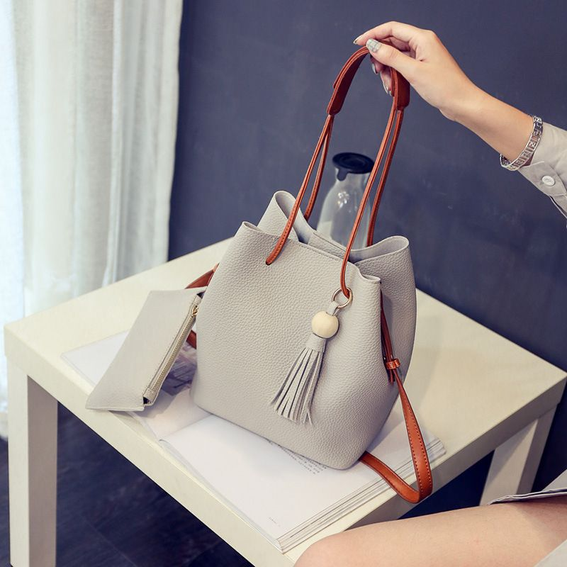 60dc7c1615 Fashion Women Bucket Bag Vintage Tassel Messenger Bag Retro Shoulder Bag  Simple Crossbody Bag with Small Wallet Popular