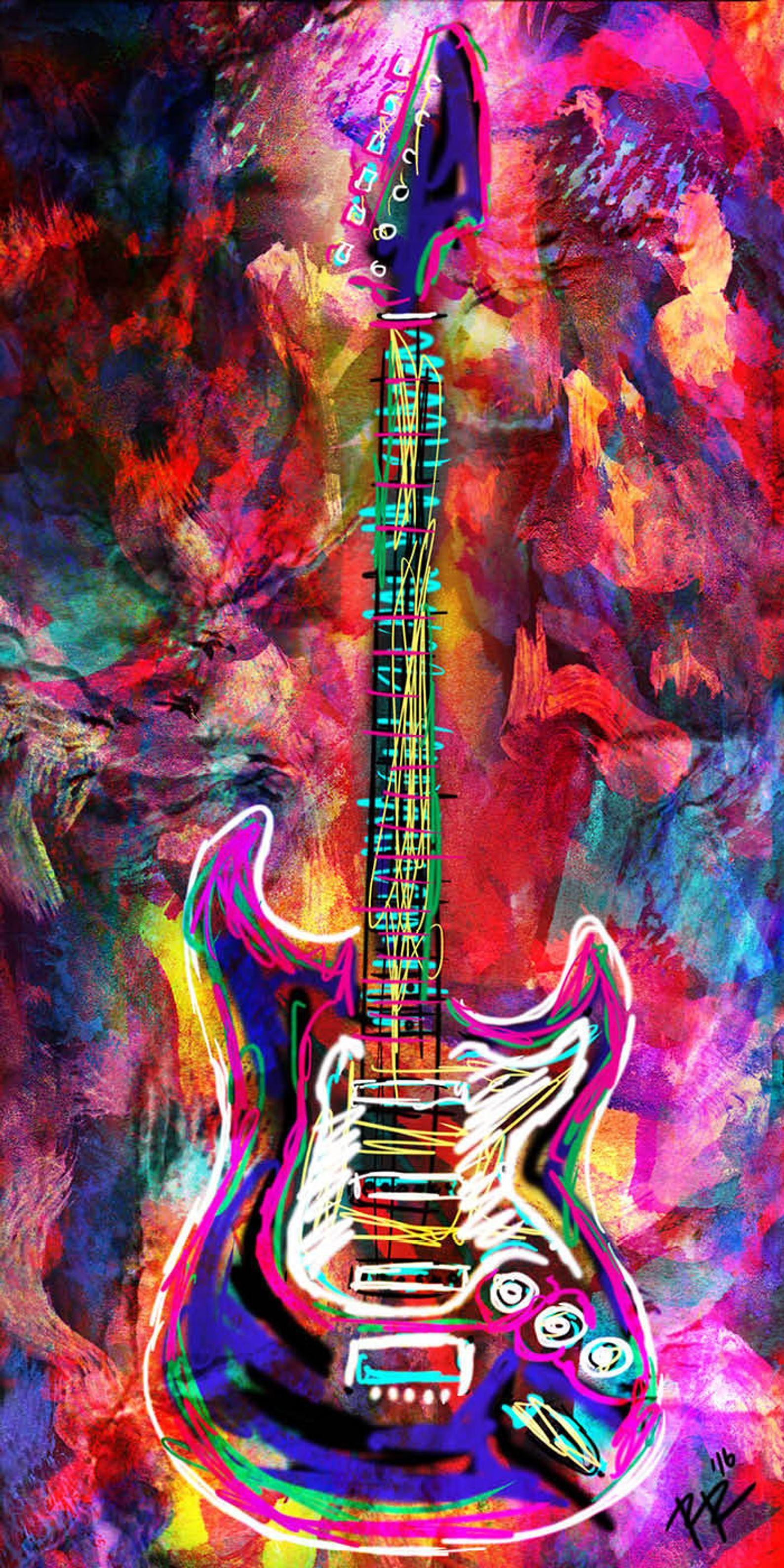 Guitar art print music art rock n roll instrument art