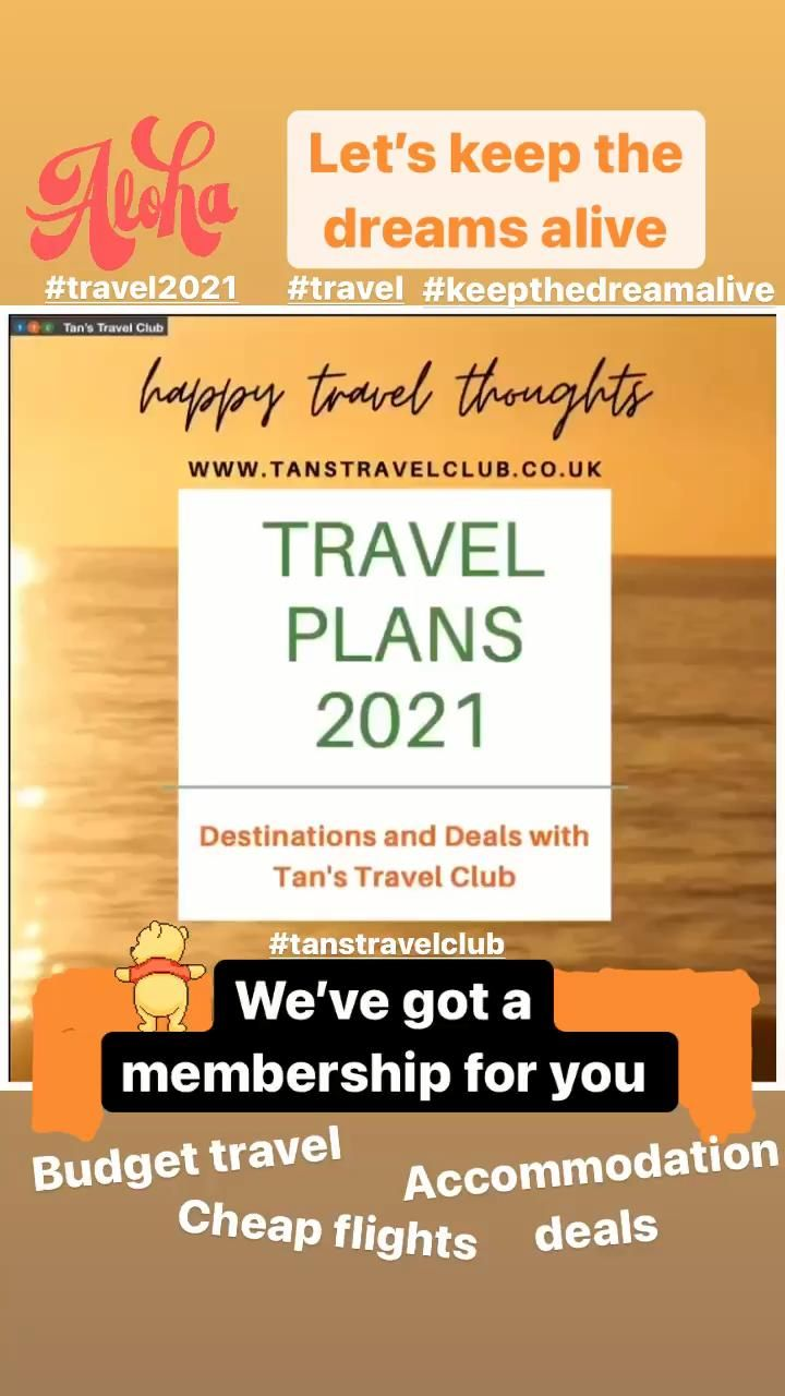 Let's keep the travel dreams alive during these turbulent times. Planning ahead with 2021 travel deals, cheap flights and accomodation bargains. Click on the link and visit us for more information. Stay safe and happy planning ☺️ #TansTravelClub #traveldreams #travel #travelplans #2021travel #cheapflights #traveldeals