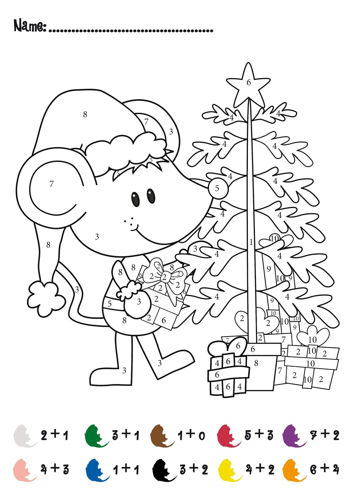 CHRISTMAS Color by Numbers Printables   Christmas Addition Math Activity  FREE! For Pre-…   Christmas math worksheets [ 1600 x 1131 Pixel ]