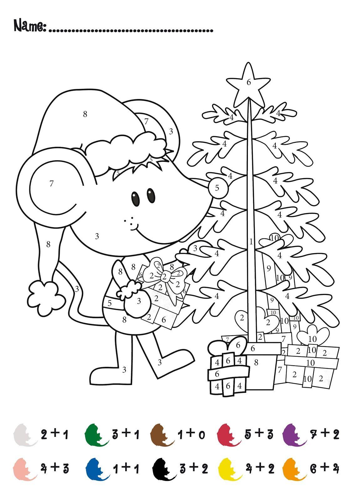 CHRISTMAS Color by Numbers Printables  Christmas Addition Math