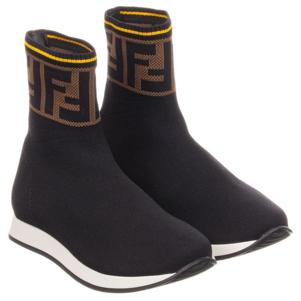 Black sock trainers by Fendi, suitable