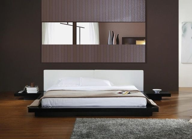 Opal Black High Gloss Finish Queen Size Platform Bed With Built In