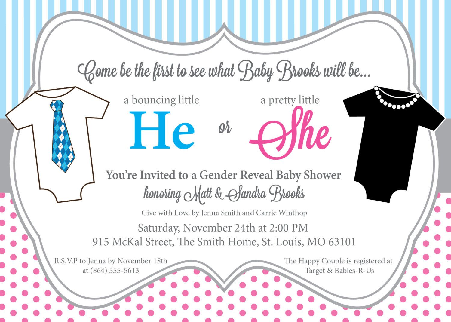He or She Gender Reveal Baby Shower Invitation, Printable, Pink ...
