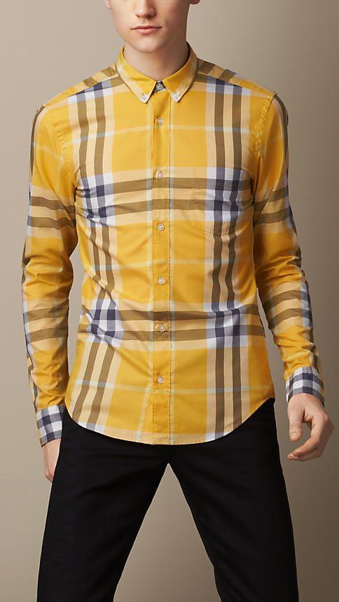 afa6bb8d5a29 BURBERRY MENS EXPLODED CHECK COTTON SHIRT YELLOW   Fly Shirts ...