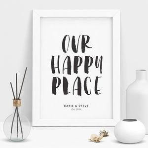 'Our Happy Place' Personalised Print Black And Whi