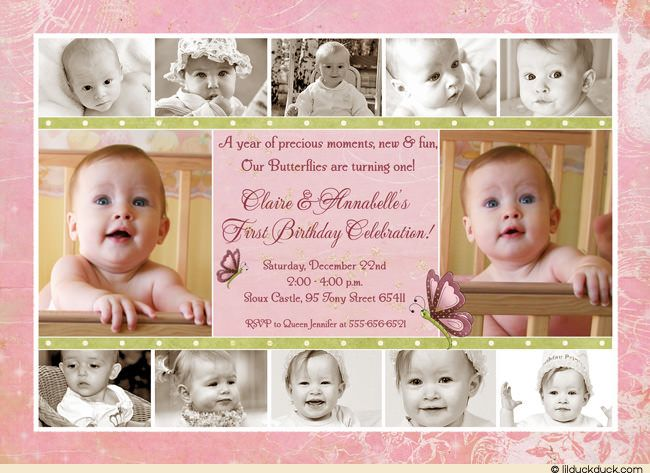 Twin Butterflies Birthday Collage Invitation Pink Photos Wording – Picture Collage Birthday Card