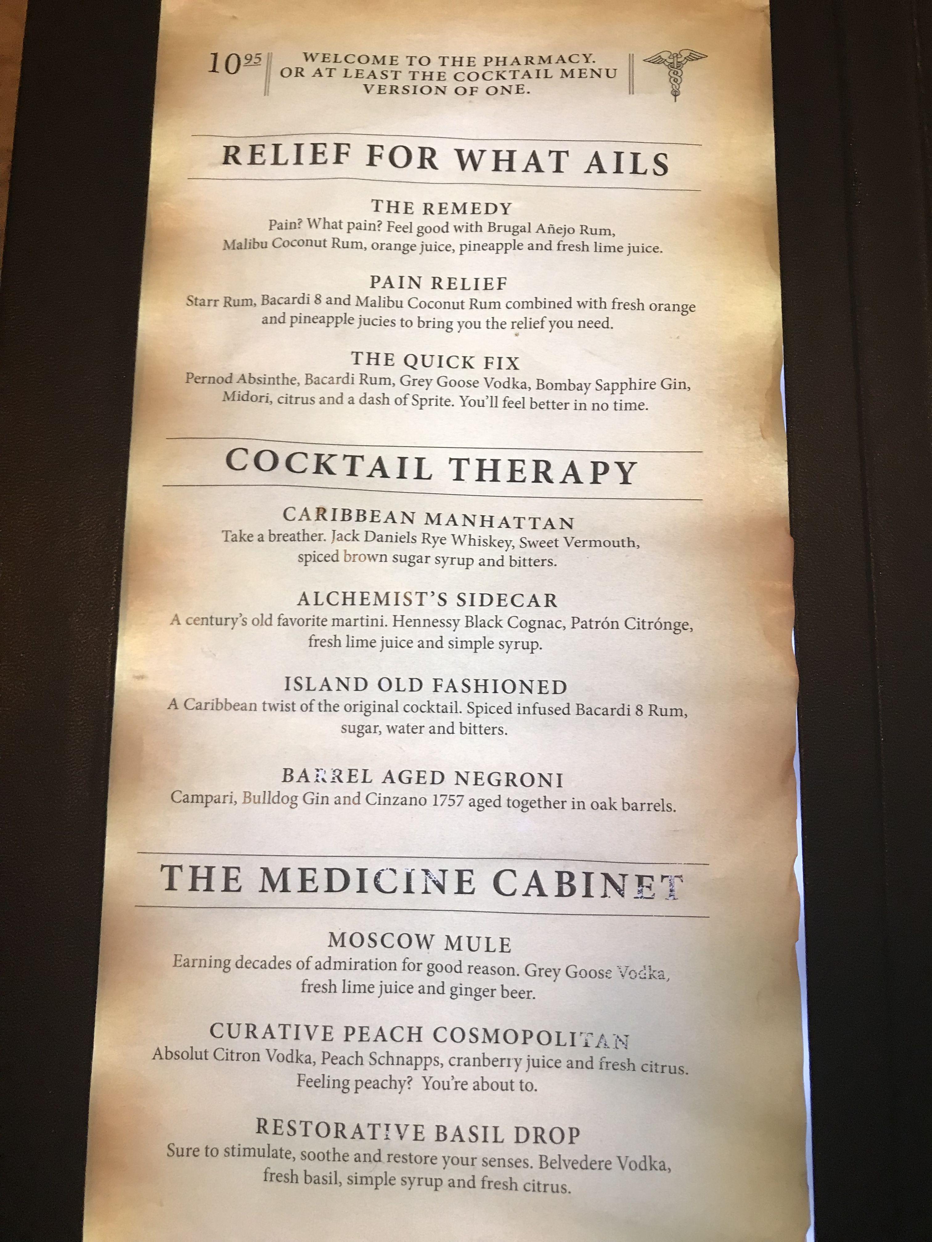 2019 Carnival Glory Alchemy Bar Menu - relief therapy ...