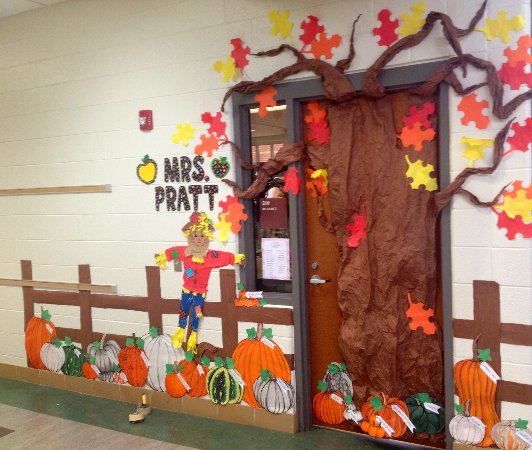 Fall pumpkin patch classroom door decoration features for Autumn classroom door decoration ideas