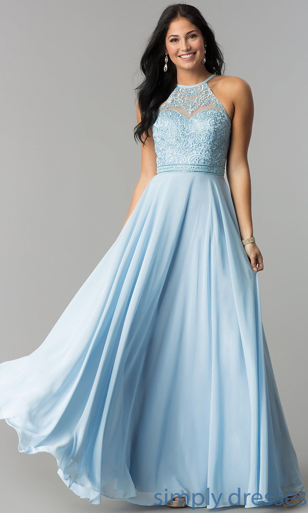 0397a9c9f15 Embroidered-Bodice Long Formal Chiffon Prom Dress