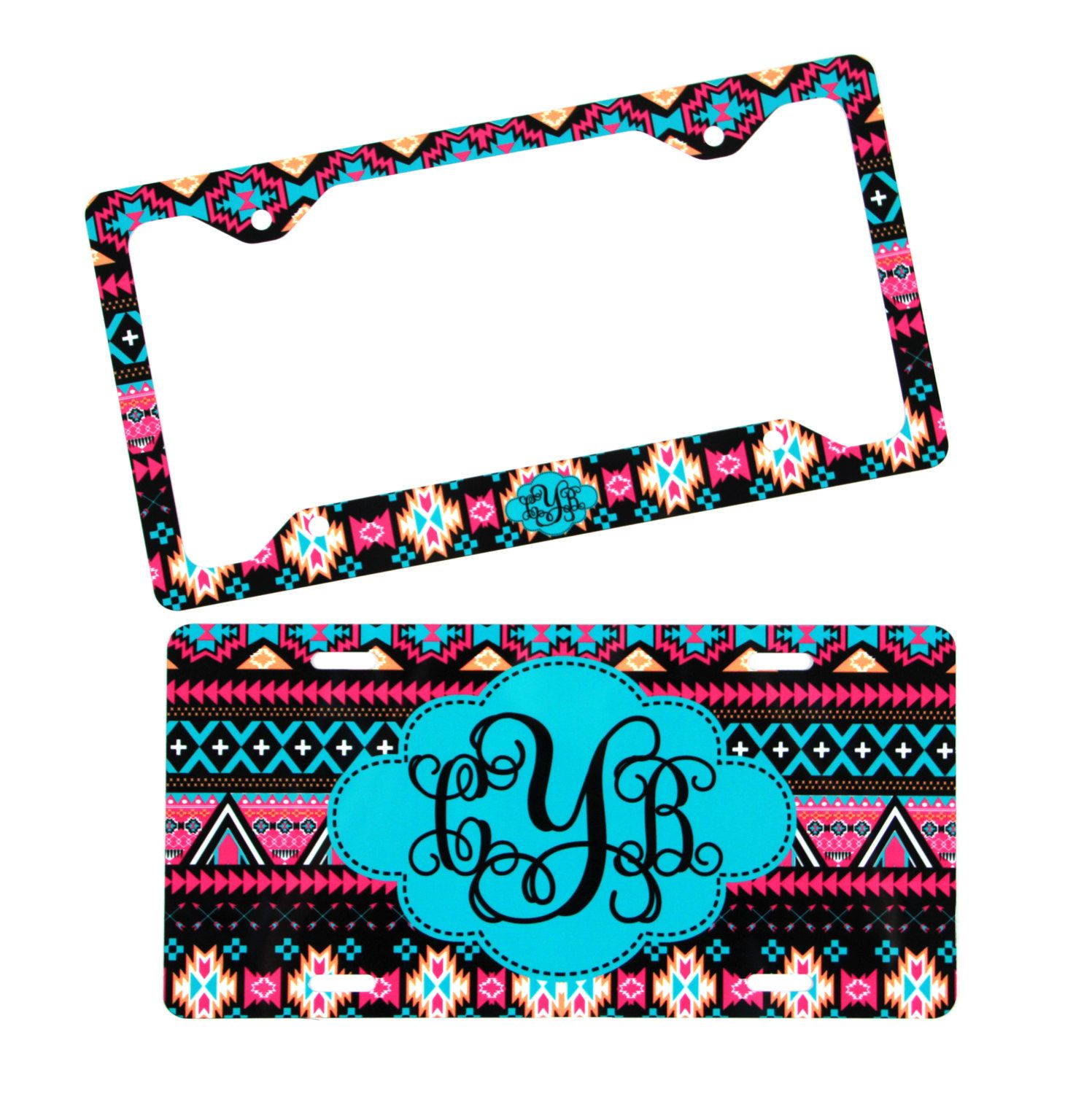 Aztec License Plate Frame + Front License Plate Aztec Tribal ...