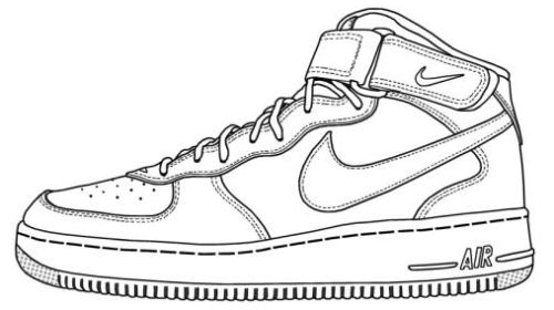 Elegant Nike Air Force Shoes Coloring Sheet · Outline DesignsPaper ...