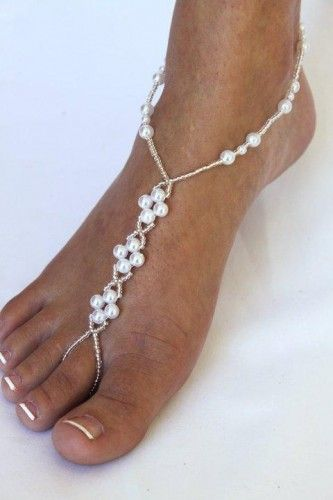 Barefoot Sandals Pearl Cluster Barefoot Jewelry Beach Wedding