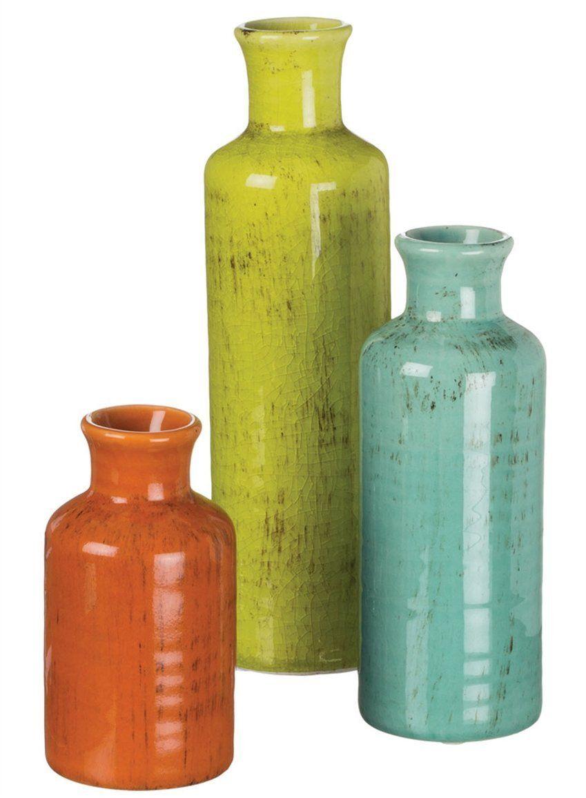 Sullivans 5-10\' Set of 3 Decorative Crackled Vases in Orange, Green ...